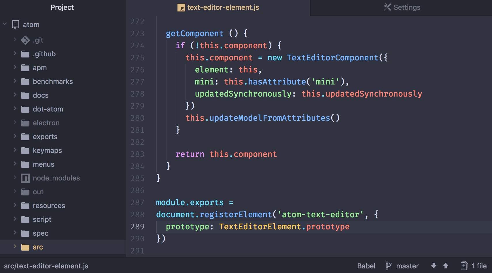 Atom hackable text editor