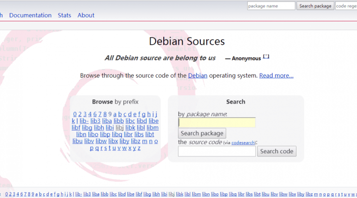 debian source code