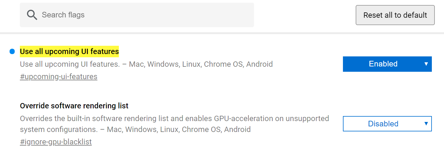 Google Chrome adds an option to enable all experimental