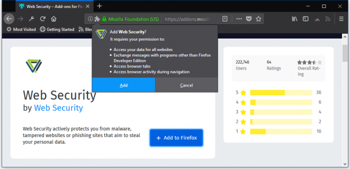 The popular Firefox add-on, Web Security collects user browsing history