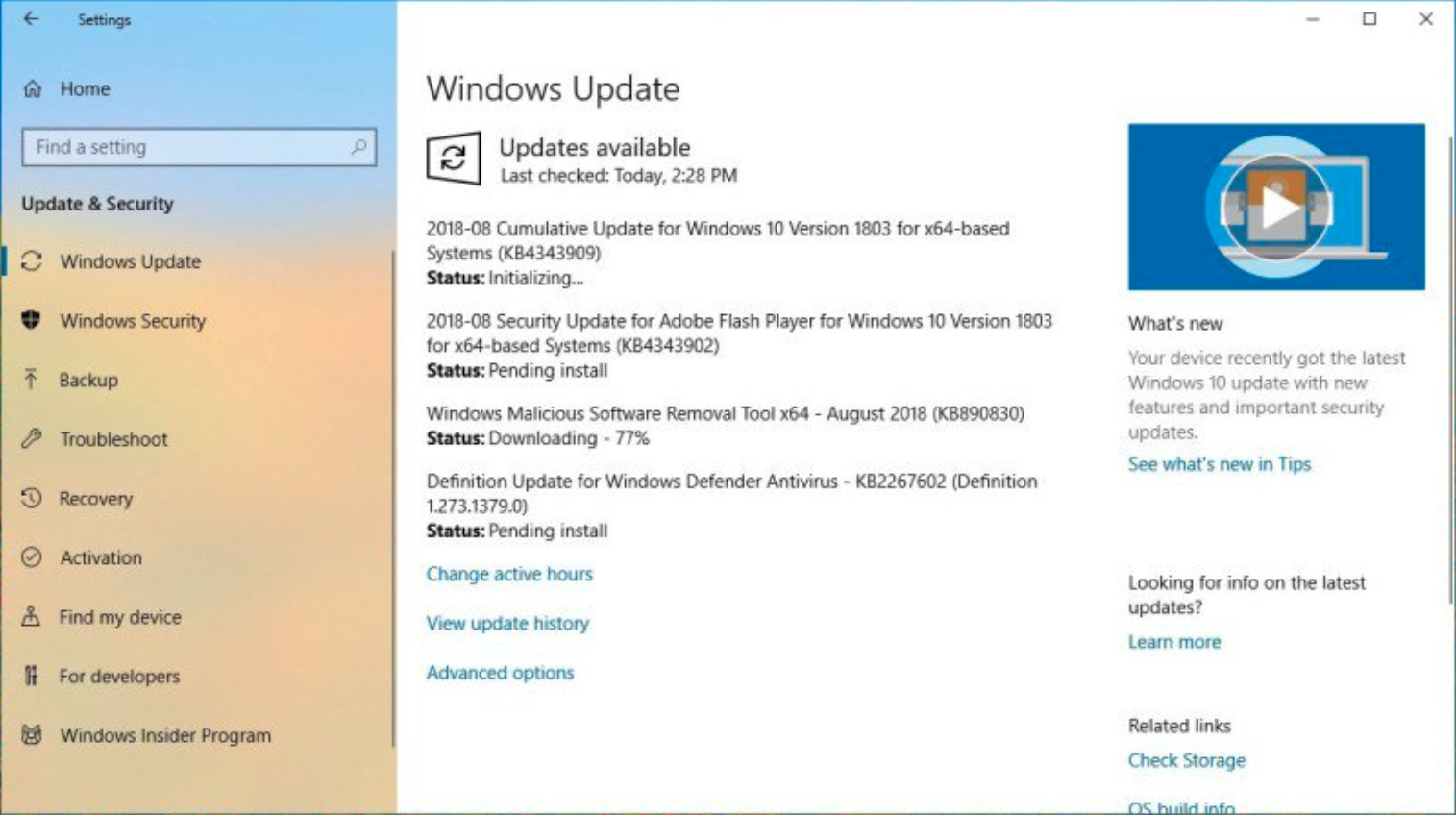 Microsoft released the KB4457128 update for Windows 10 version 1803