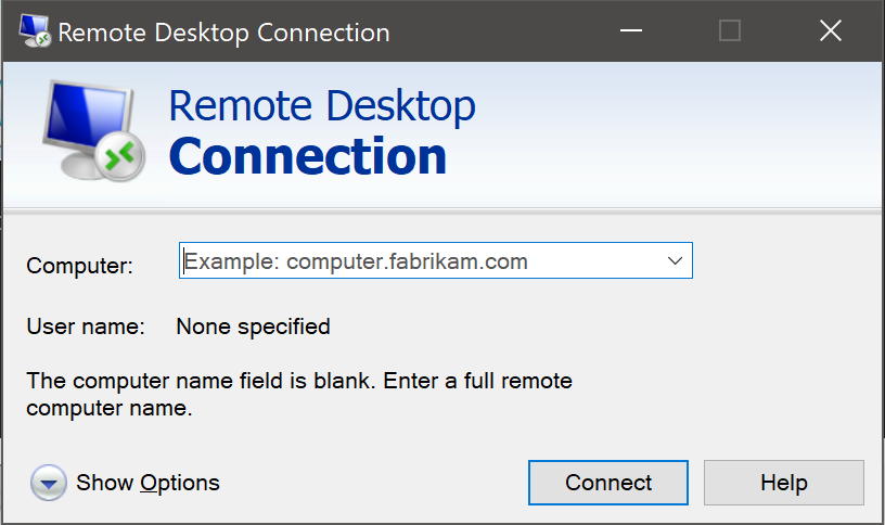 You may get a black screen when using Remote Desktop on