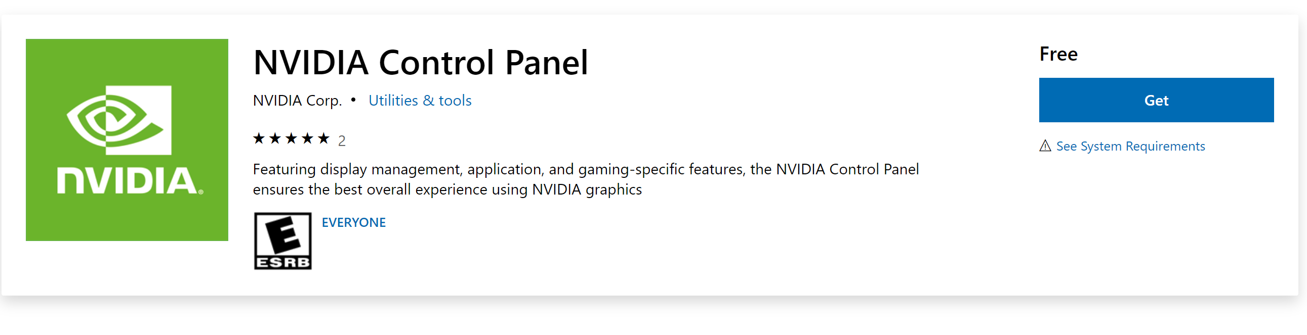 NVIDIA Graphics Control Panel Program is on Microsoft Store