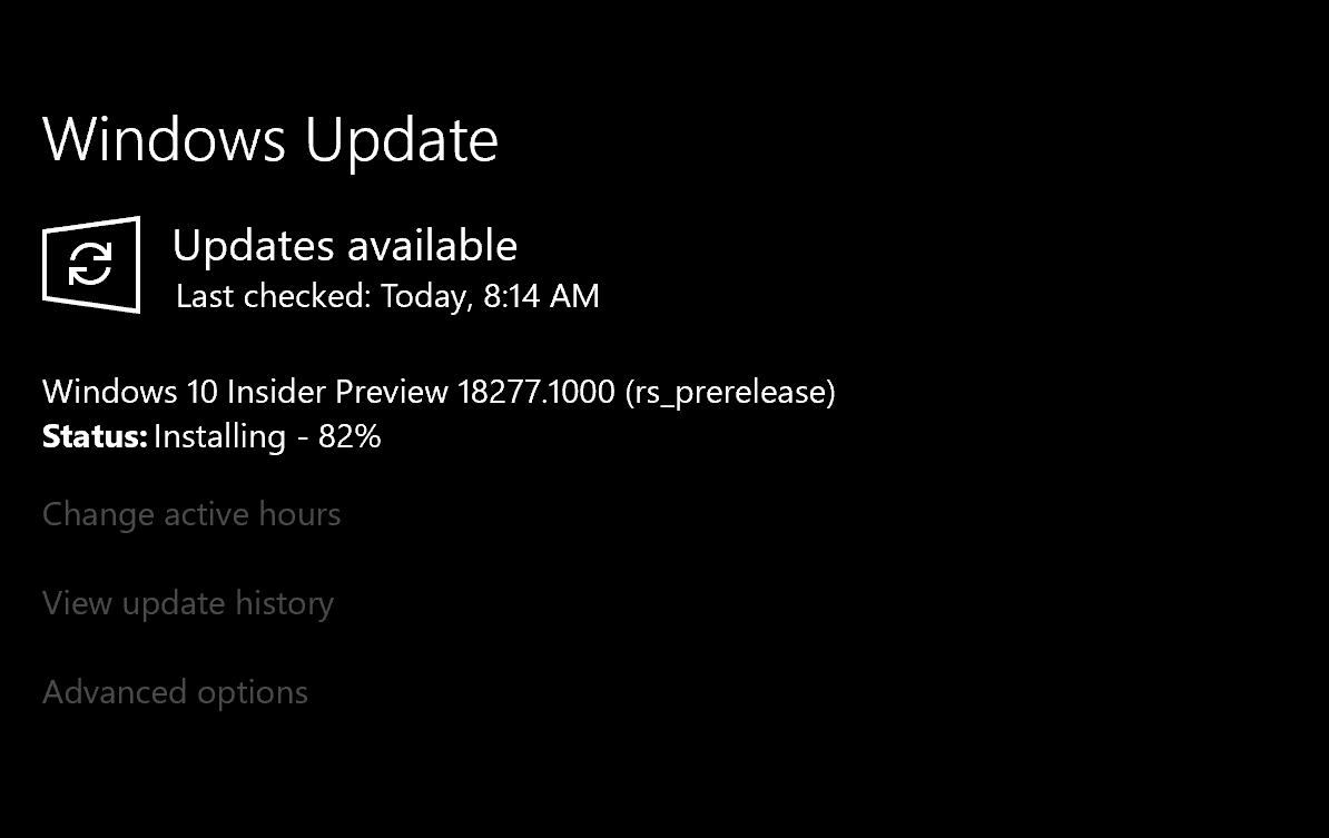 Windows 10 Insider Preview Build 18277