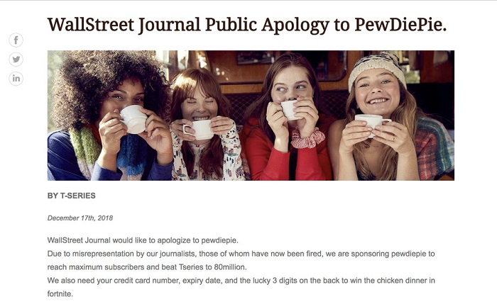 PewDiePie fans attacked Wall Street Journal