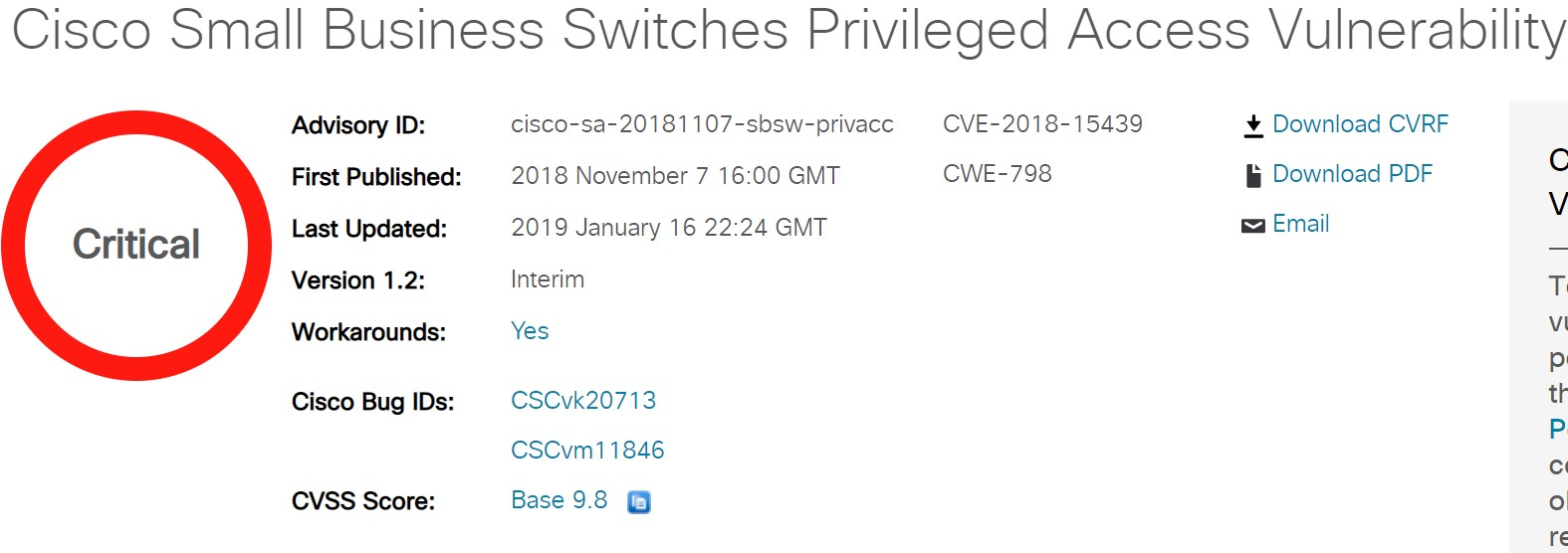 Cisco Small Business Switches vulnerability