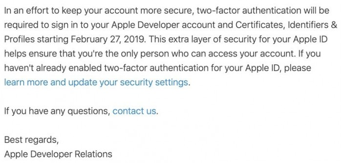 Apple enable two-factor authentication