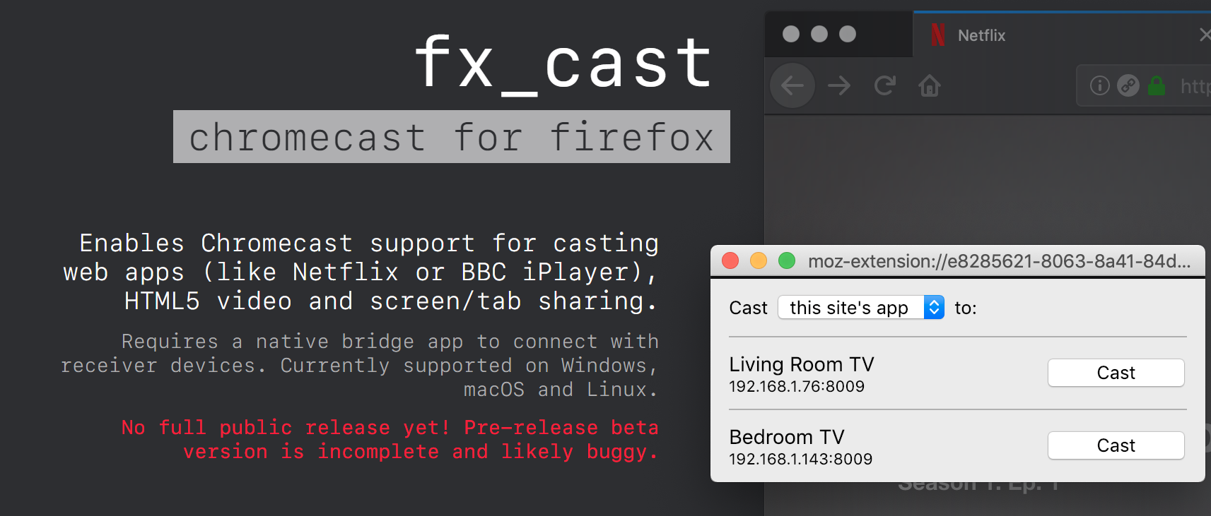 fx_cast extension makes Chromecast work on Firefox