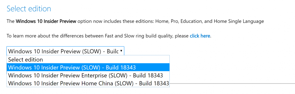 Windows 10 Insider Preview Build 18343 ISO