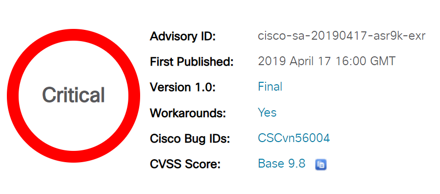 CVE-2019-1710: Cisco IOS XR 64-bit Software Critical Security