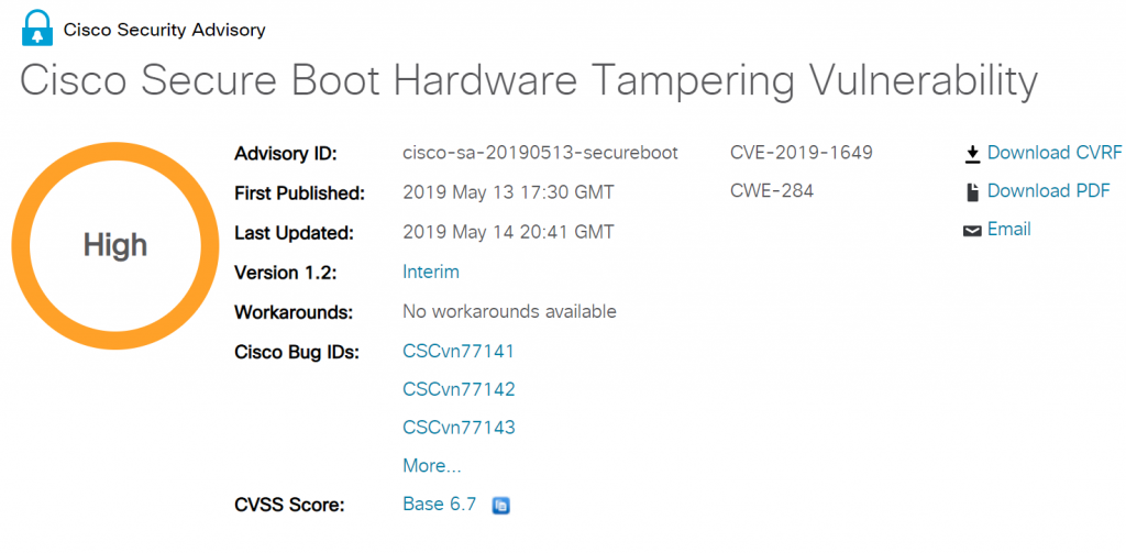 Cisco Secure Boot Hardware Tampering Vulnerability