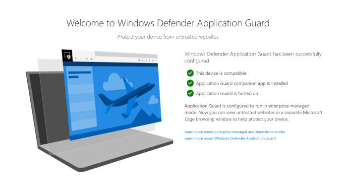 Windows Defender Application Guard extensions
