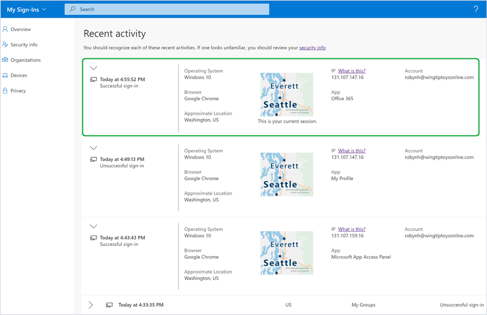 Azure AD Sign-In History
