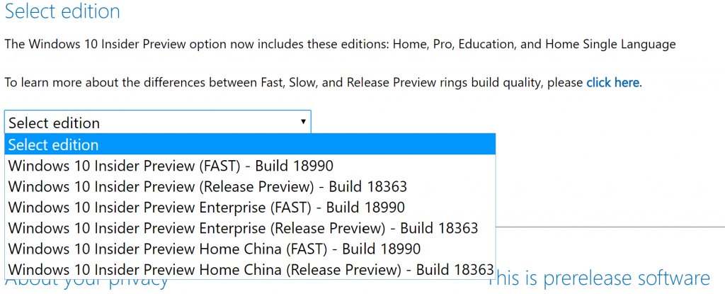 Windows 10 Insider Preview Build 18999