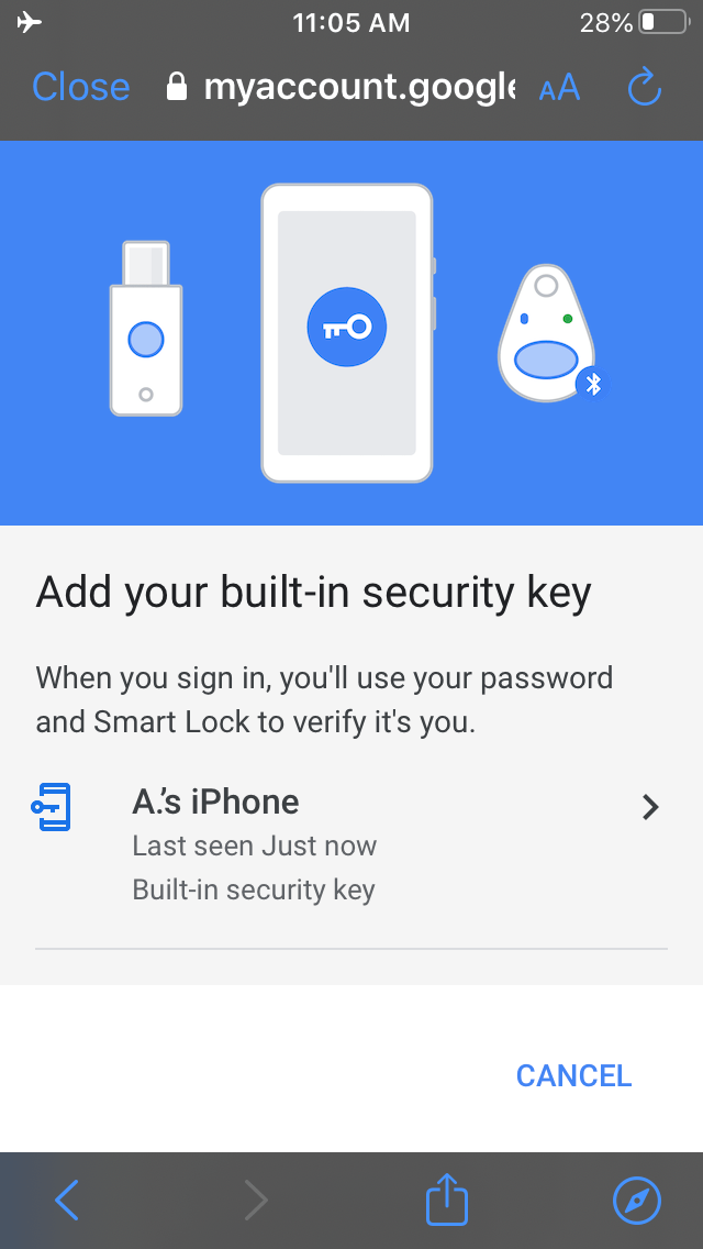 iOS Google security keys