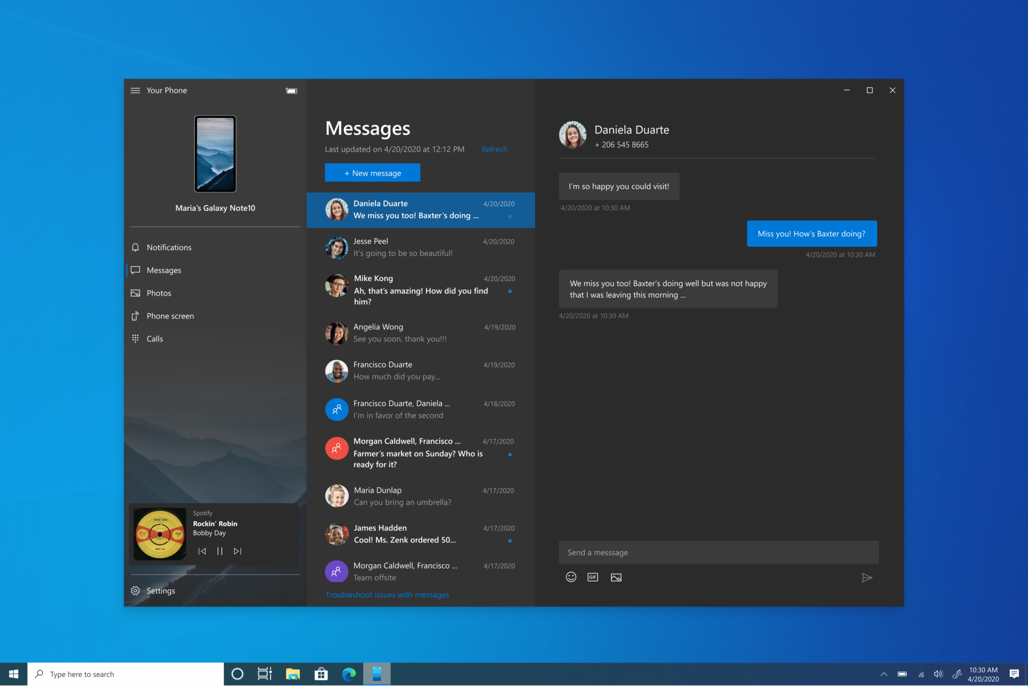 Windows 10 Your Phone let the user control for music playing on the Phone