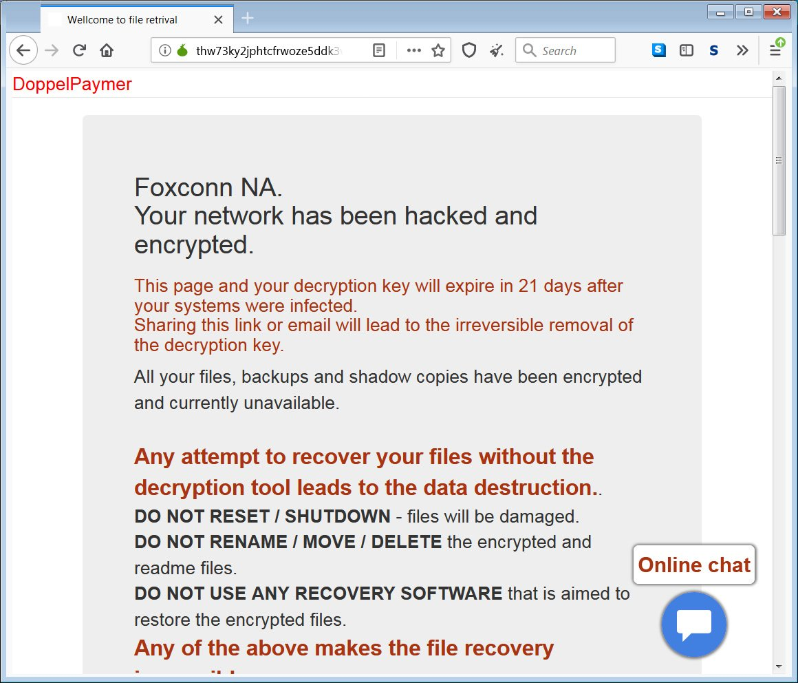Foxconn facility in Mexico encounters ransomware attack